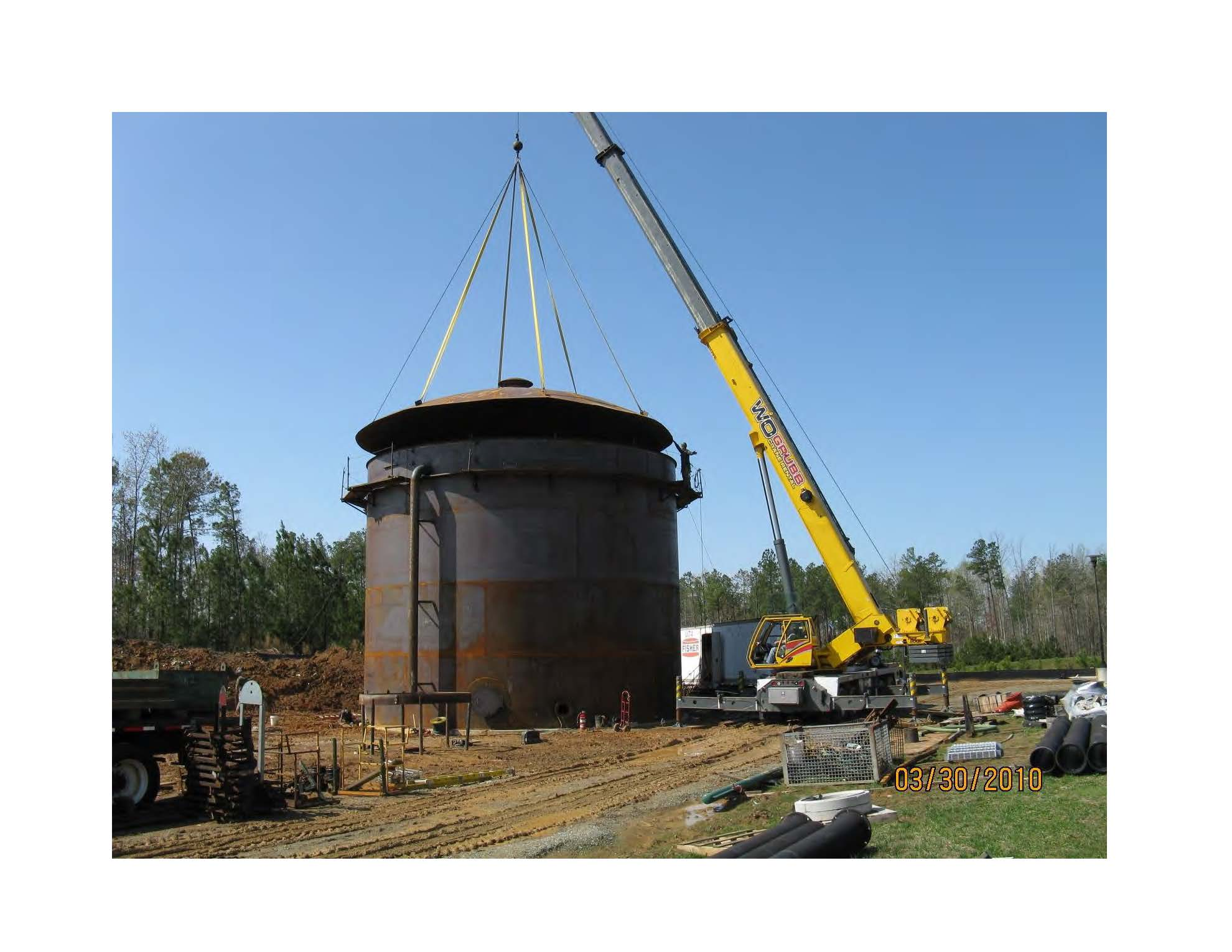 Reclaimed tank and crane
